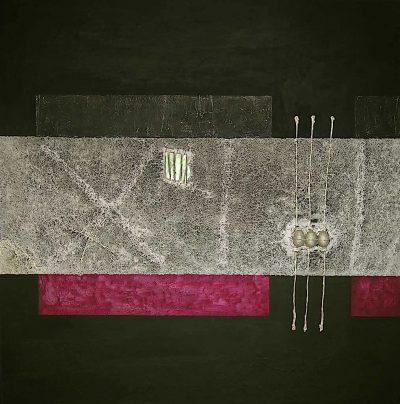 Memoria di luce/Nel segno del tre, 2006, tecnica mista su tela, cm. 150x150x4,5