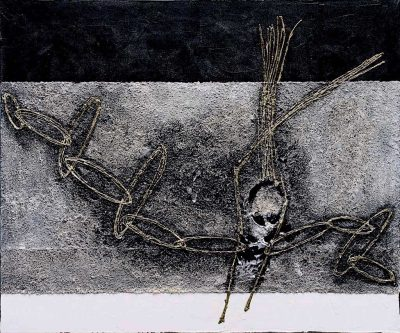 Reazione a catena, 2007, tecnica mista su tela, cm. 100x120x4,5