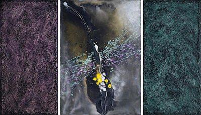 La melodia del tempo, 2008, tecnica mista su tela, trittico, cm. 100x170