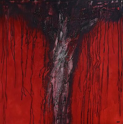 Sacred trees/Into the red, 2015, tecnica mista su tela, cm. 120x120x4,5
