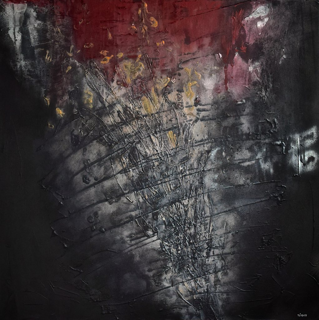 Armageddon, 2014, tecnica mista su tela, cm. 100x100x6,5