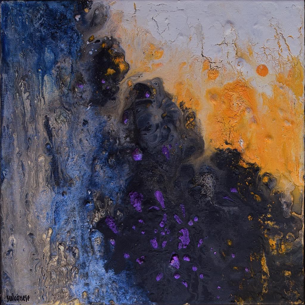 Ciclo Sentieri di luce/Paths of light (frammento/frame), 2019, tecnica mista su tela, cm. 30x30x7,5