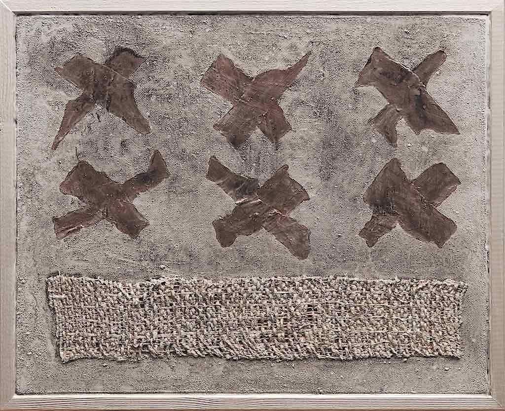 Migrazione virtuale, 2001, tecnica mista su tela, cm. 30x29