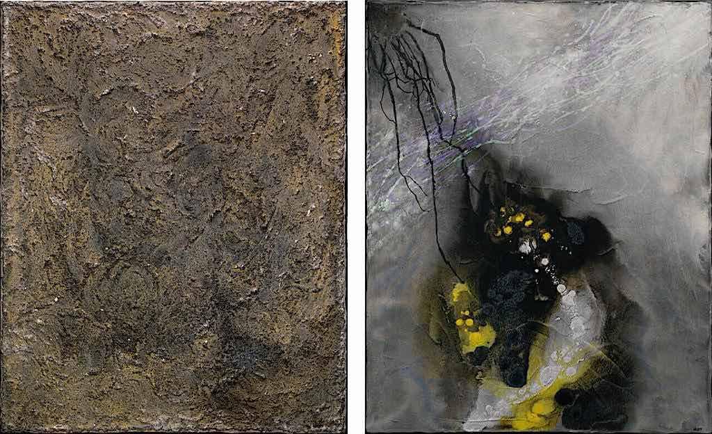 La melodia del tempo, 2007, tecnica mista su tela, dittico, cm. 100x160x4,5