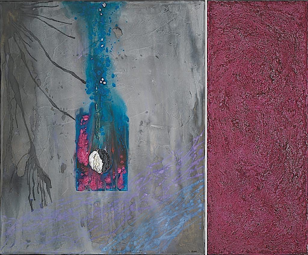 Come una preghiera, 2008, preparazione materica e acrilico su tela, dittico, cm. 100x120x4,5