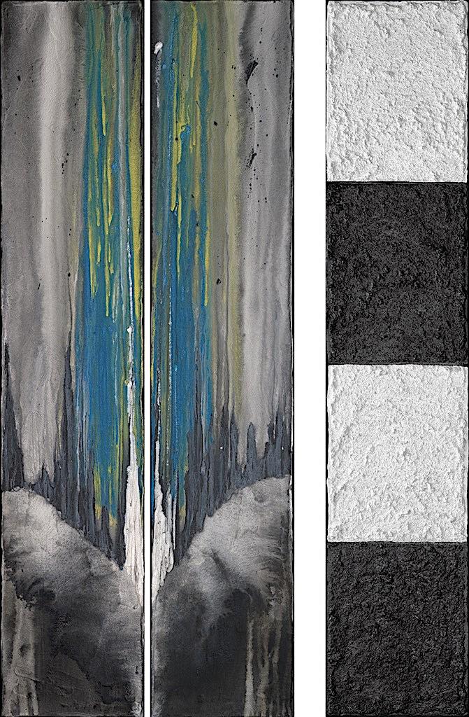 L'incantesimo del blu, 2008, tecnica mista su tela, trittico, cm. 100x60