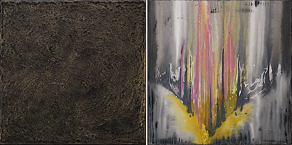 L'incantesimo del giallo, 2008, tecnica mista su tela, dittico, cm. 70x140