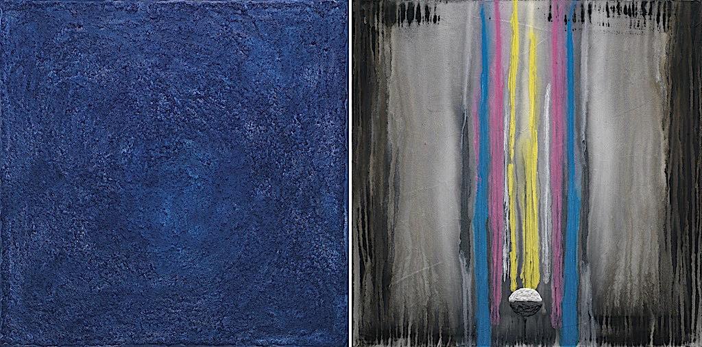 La melodia del blu n.3, 2008, tecnica mista su tela, dittico, cm. 80x160x4,5