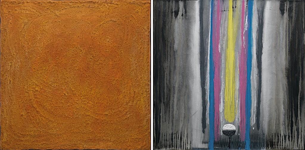 La melodia del giallo n. 1, 2008, tecnica mista su tela, dittico, cm. 80x160x4,