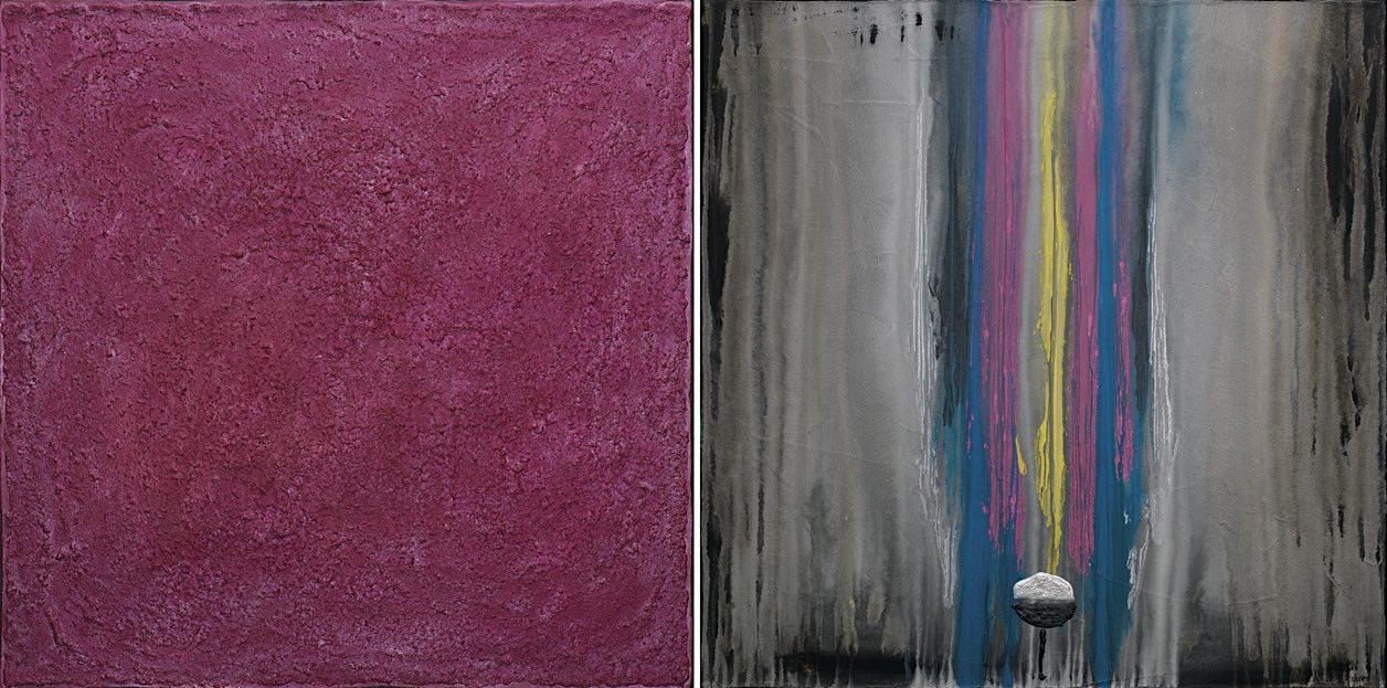 La melodia del rosa n. 4, 2008, tecnica mista su tela, dittico, cm. 80x160x4,5
