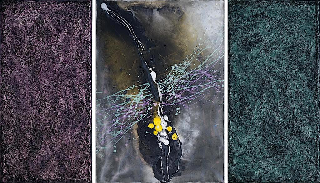 La melodia del tempo, 2008, tecnica mista su tela, trittico, cm. 100x170x4,5