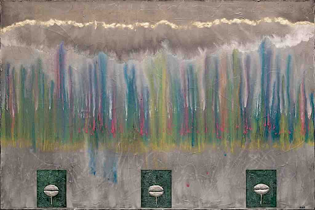 La melodia del vento, 2008, tecnica mista su tela, cm. 80x120