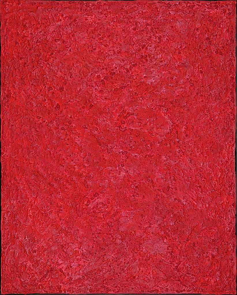 Nel segno del rosso, 2008, tecnica mista su tela, cm. 120x150x7