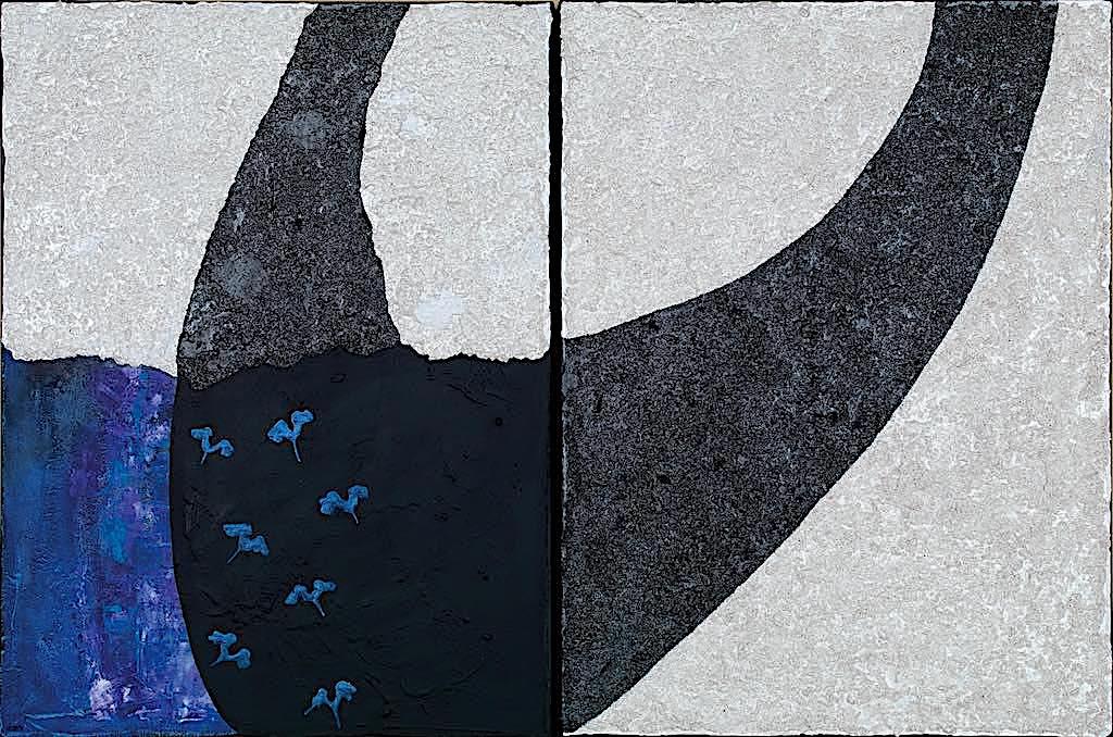 Sette, 2008, tecnica mista su tela, dittico, cm. 80x120x4,5