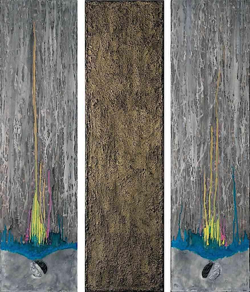 Tre appunti di luce, 2008, trittico, tecnica mista su tela, cm. Tre appunti di luce, 2008, tecnica mista su tela, trittico, cm. 150x120x4,5
