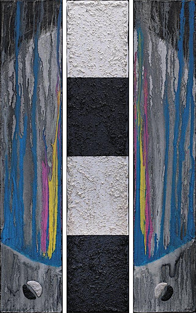 Tre piccoli versi di luce, 2008, tecnica mista su tela, trittico, cm. 100x60