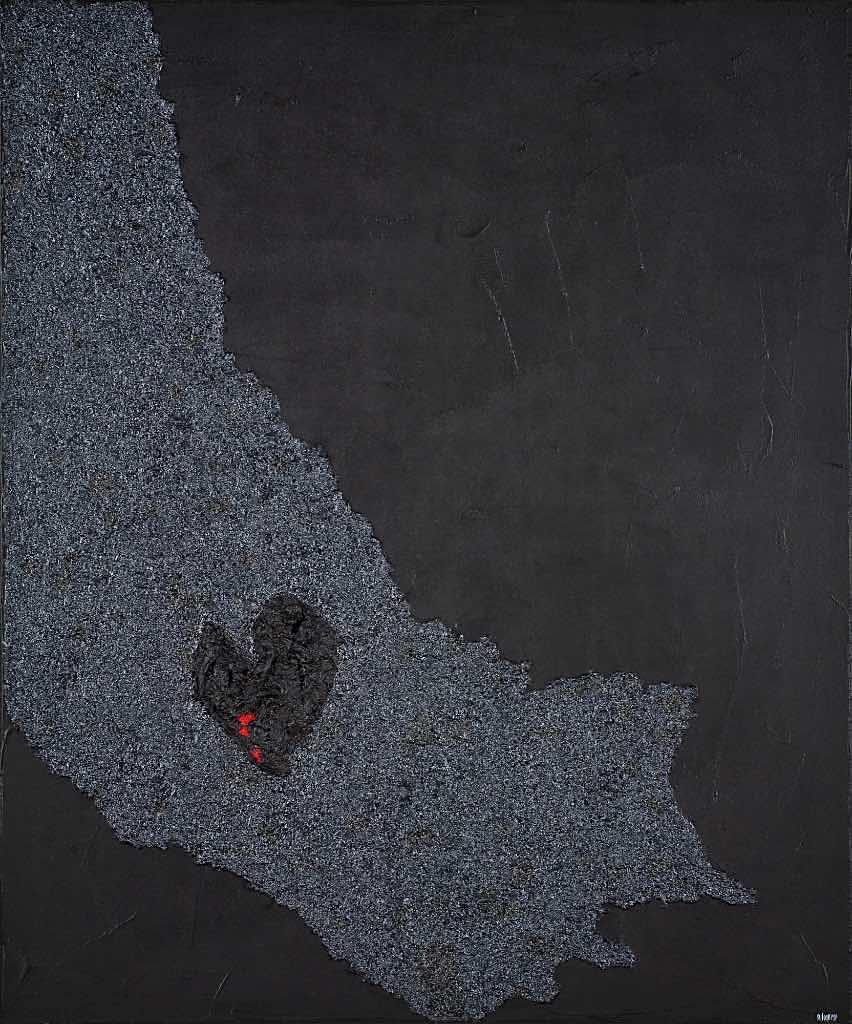 Altrove, 2009, tecnica mista su tela, cm. 120x100x4,5