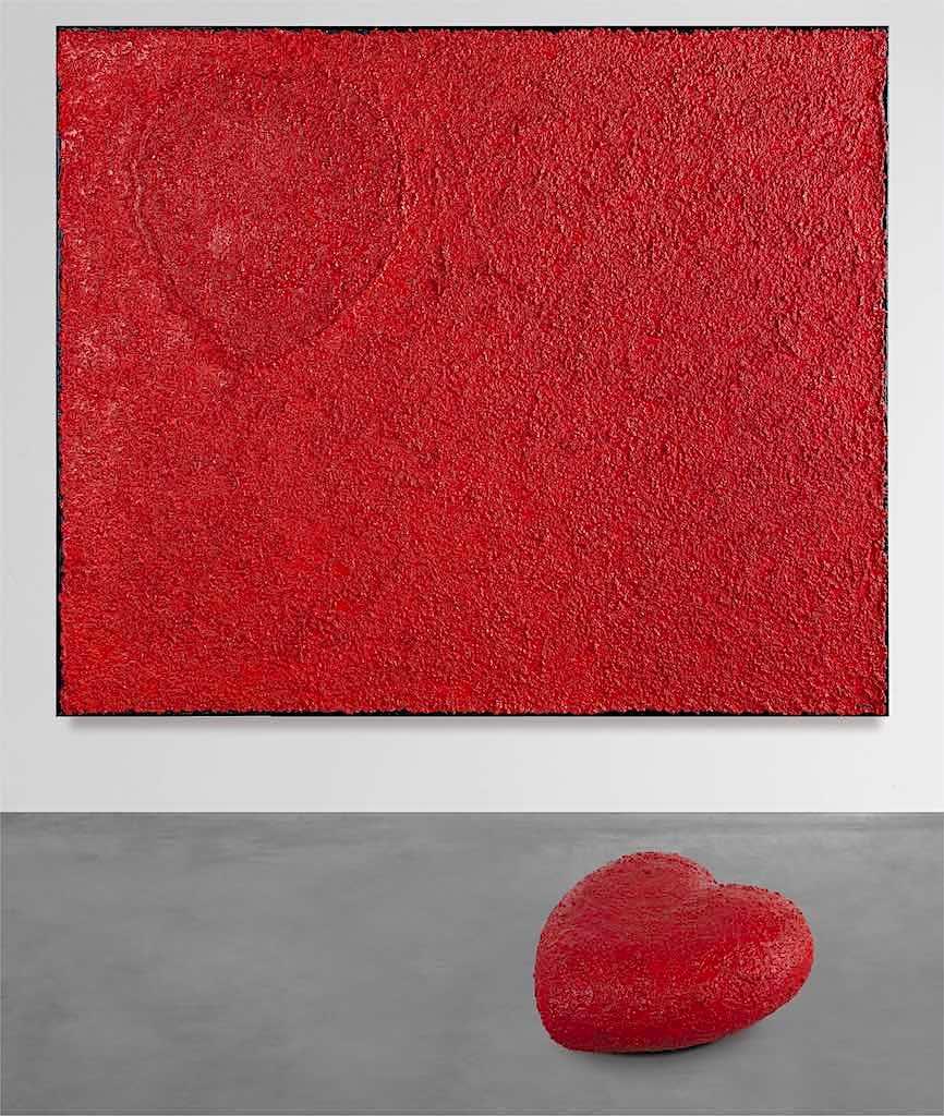 Il cuore dei santi (A), 2009, installazione (opera a muro cm. 100x120x4,5 + scultura a terra cm. 47x50x20)