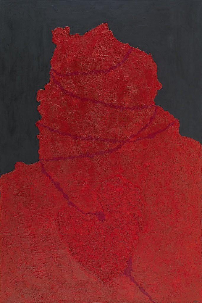 Impronte/La forma e la sua memoria (A2), 2010, tecnica mista su tela, cm. 150x100x4,5