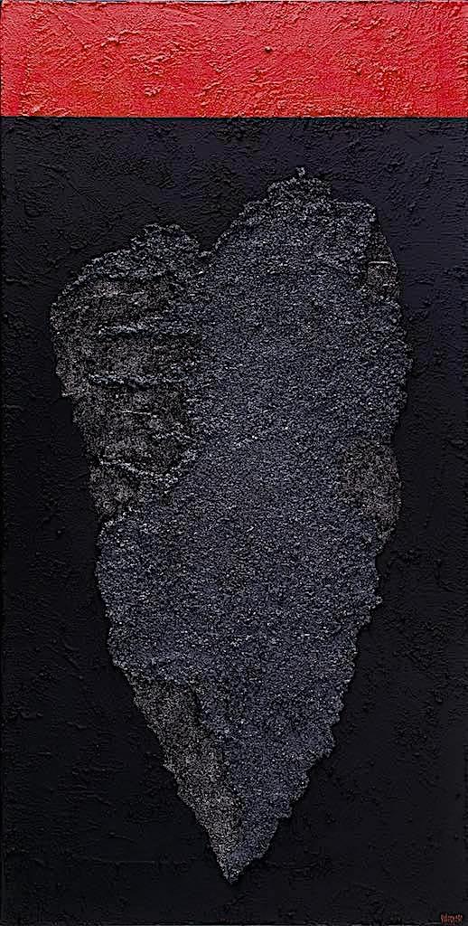 Impronte/La forma e la sua memoria (B10), 2010, tecnica mista su tela, cm. 120x60x4,5