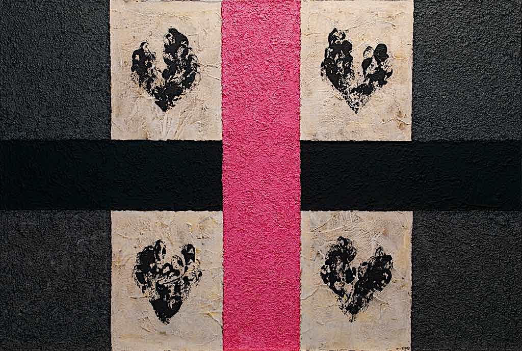 Impronte/La forma e la sua memoria (C8), 2010, tecnica mista su tela, cm. 150x100x4,5