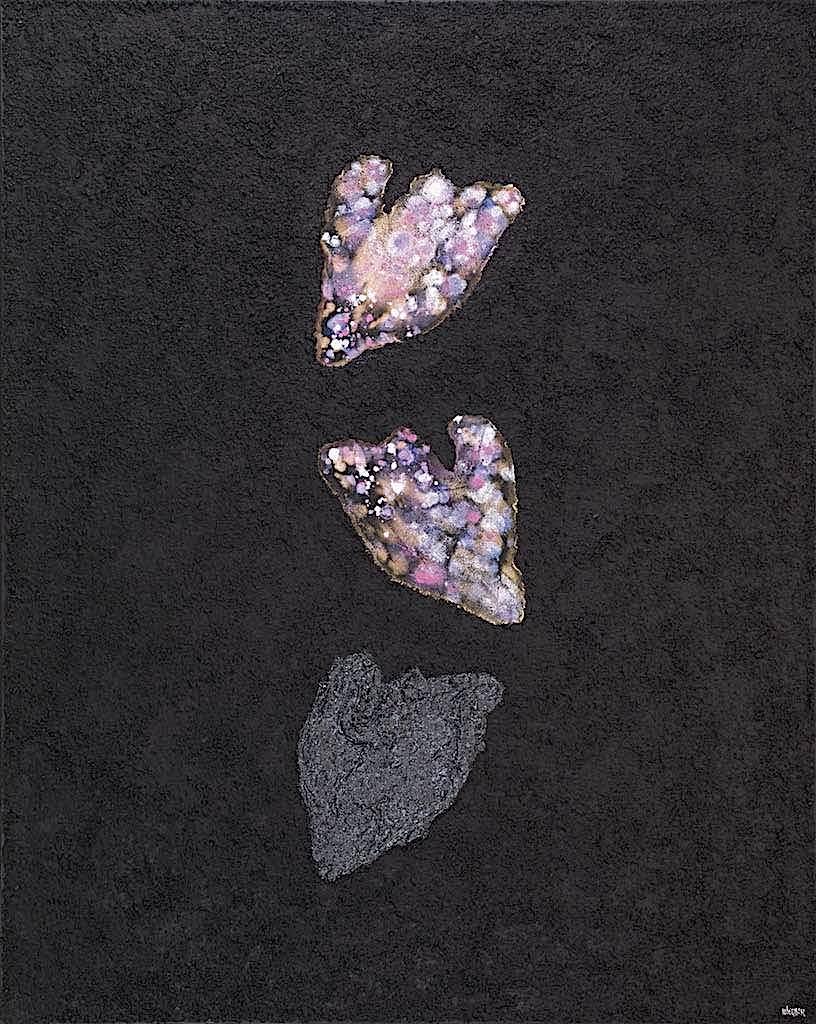 Impronte/La forma e la sua memoria, 2009/2010, tecnica mista su tela, cm. 150x120x4,5