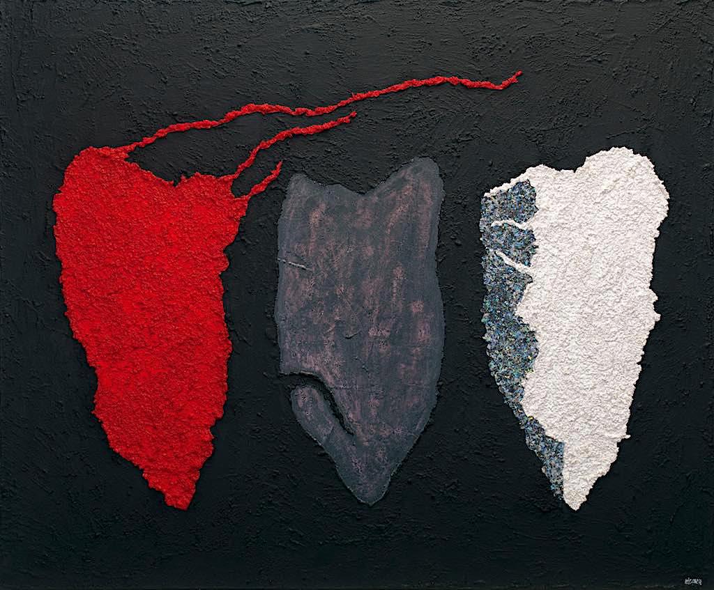 Impronte/La forma e la sua memoria (A10), 2009, tecnica mista su tela, cm. 100x120x4,5