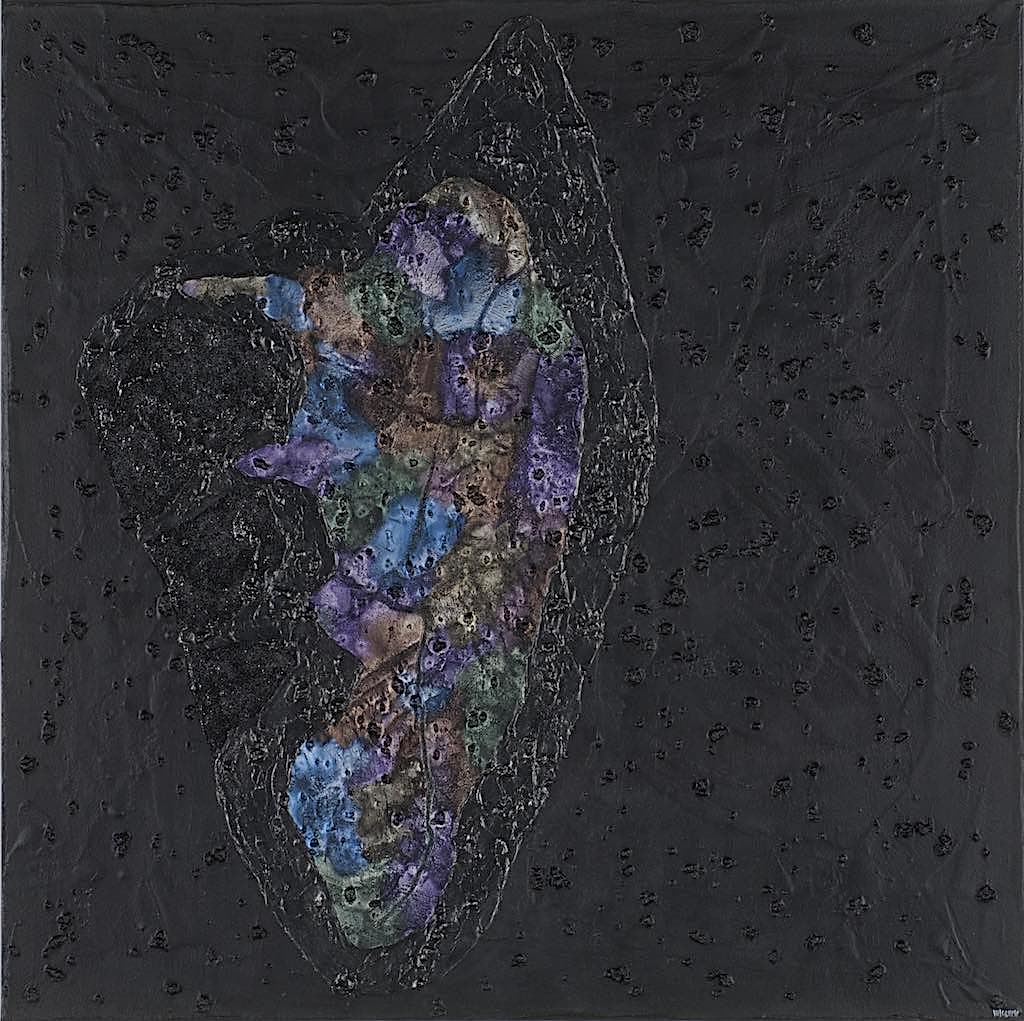 Impronte/La forma e la sua memoria/Ipotesi/Frame 1, 2011, tecnica mista su tela, cm. 100x100x4,5