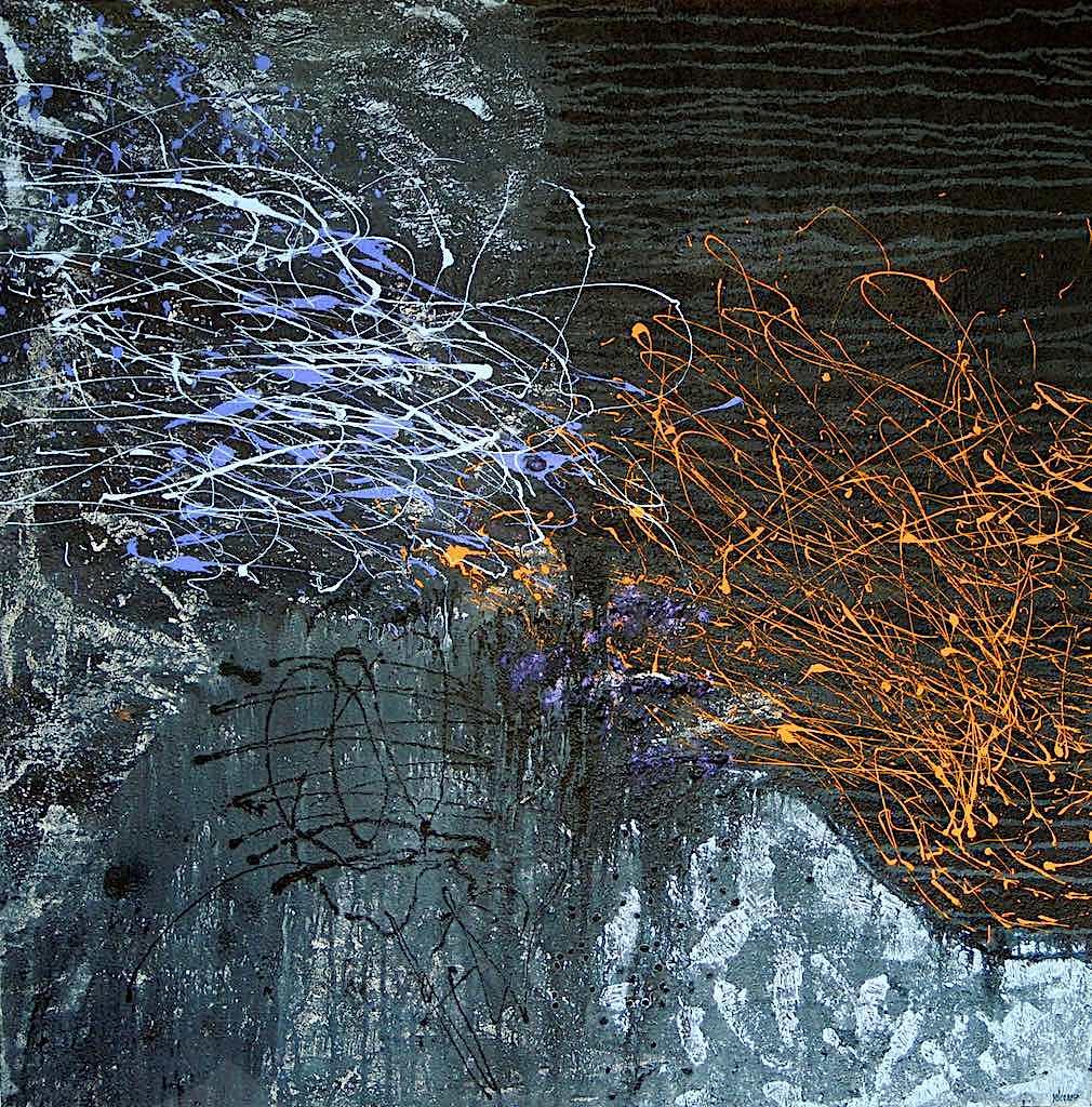 Building the outer world, 2013, tecnica mista su tela, cm. 120x120x4,5
