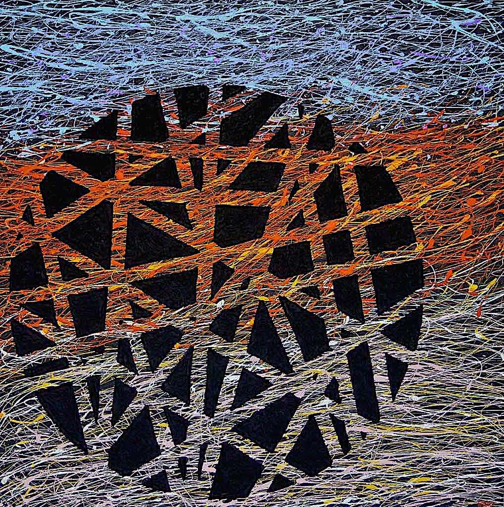 Building the outer world, 2013, tecnica mista su tela, cm. 100x100x4,5