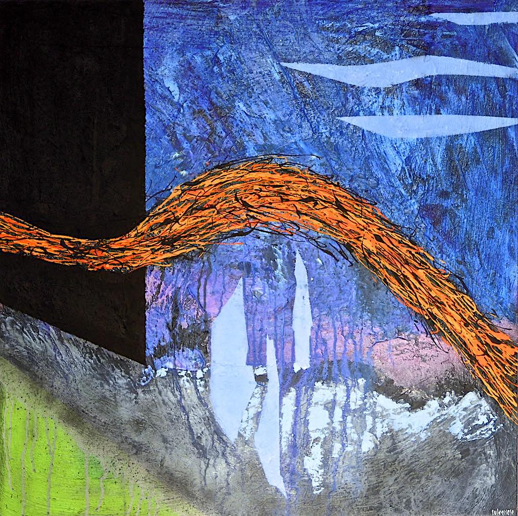 Chasing the light/Escape from black, 2013, tecnica mista su tela, cm. 80x80x4,5