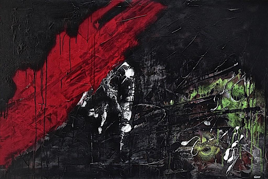 Libera nos a malo, 2014, tecnica mista su tela, cm. 80x120x4,5