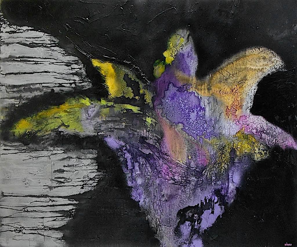 The other side of a nightmare, 2014, tecnica mista su tela, cm. 100x120x4,5