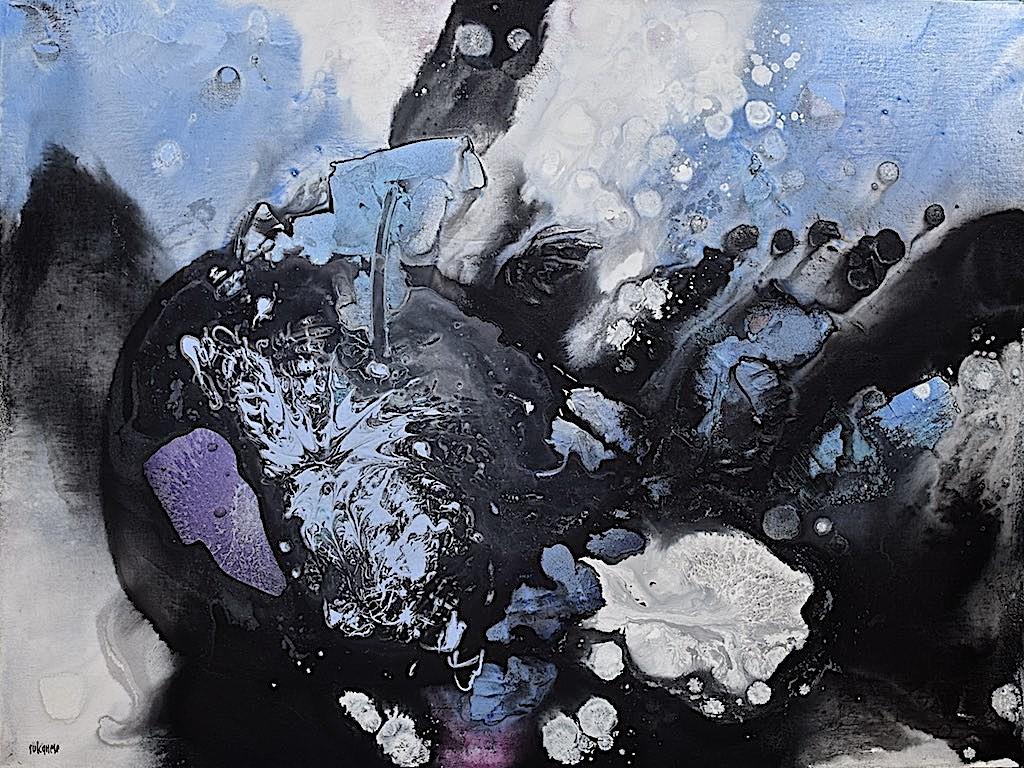 Chasing the light (Dangerous) , 2016, tecnica mista su tela, cm. 60x80x7,5