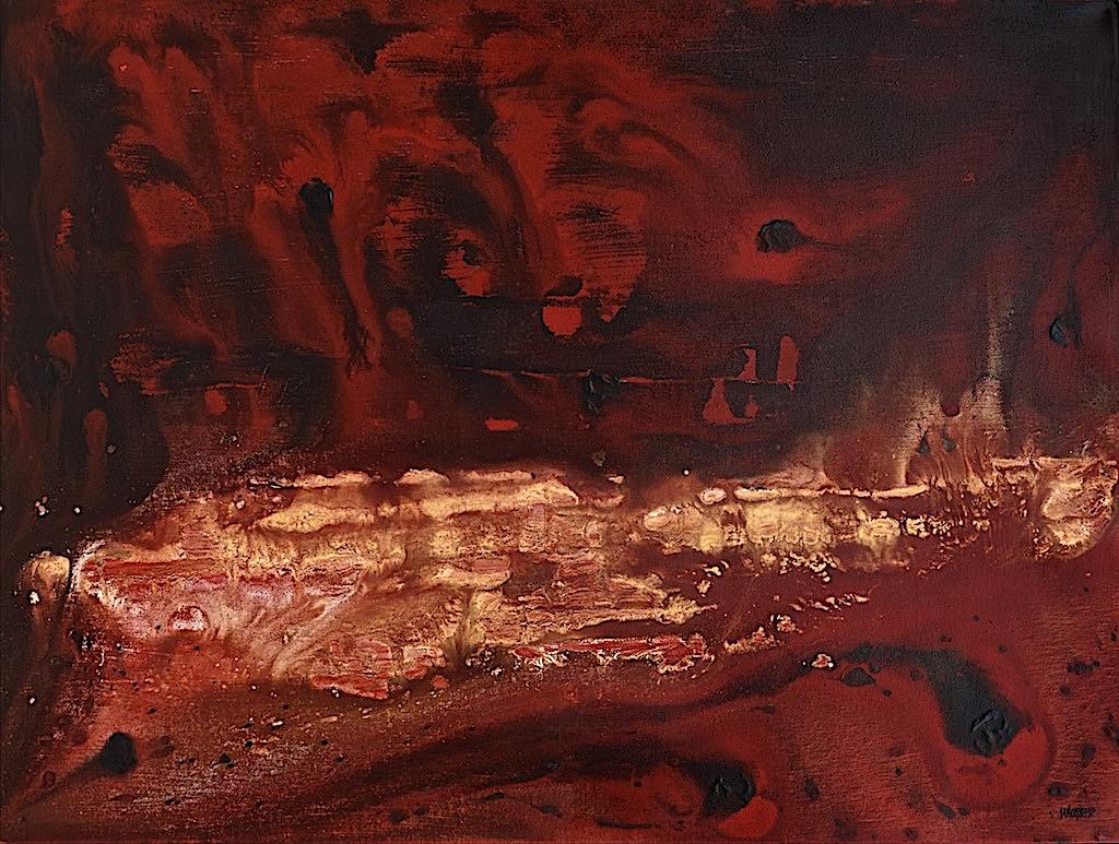 Chasing the light (Fire) , 2016, tecnica mista su tela, cm. 60x80x7,5