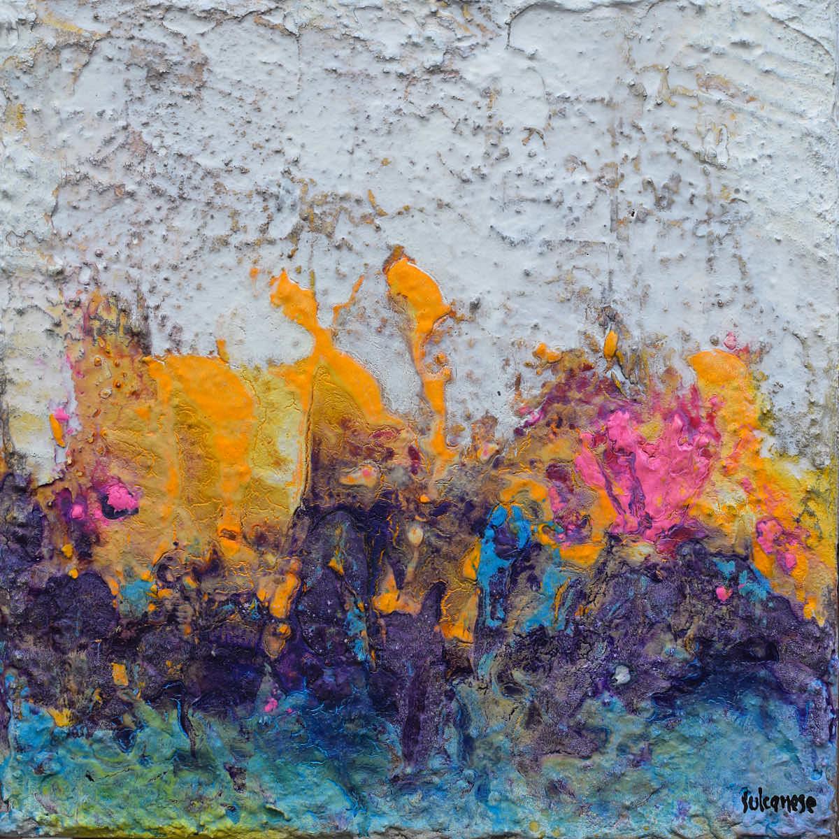 Ciclo Piccoli Universi: Il giardino delle fate, 2020, tecnica mista su tela, cm. 30x30x7