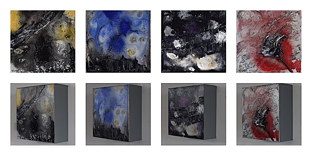 A short story/yellow, blu, violet, red), 2015, 4 pezzi da cm. 20x20x7