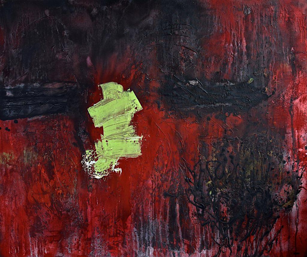Chasing the truth, 2015, tecnica mista su tela, cm, 100x120x4,5