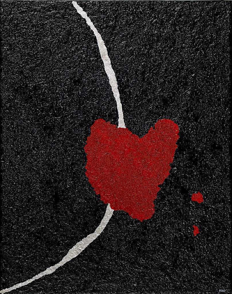 Cu/ori-Cuore sacro, 2009, tecnica mista su tela, cm. 80x100x4,5
