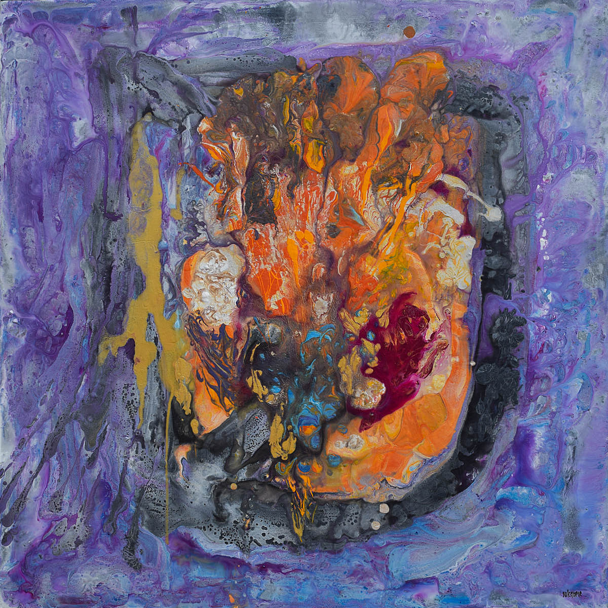 Ciclo Piccoli Universi: Il suono nascosto del silenzio, 2019, tecnica mista su tela, cm. 80x80x4,5