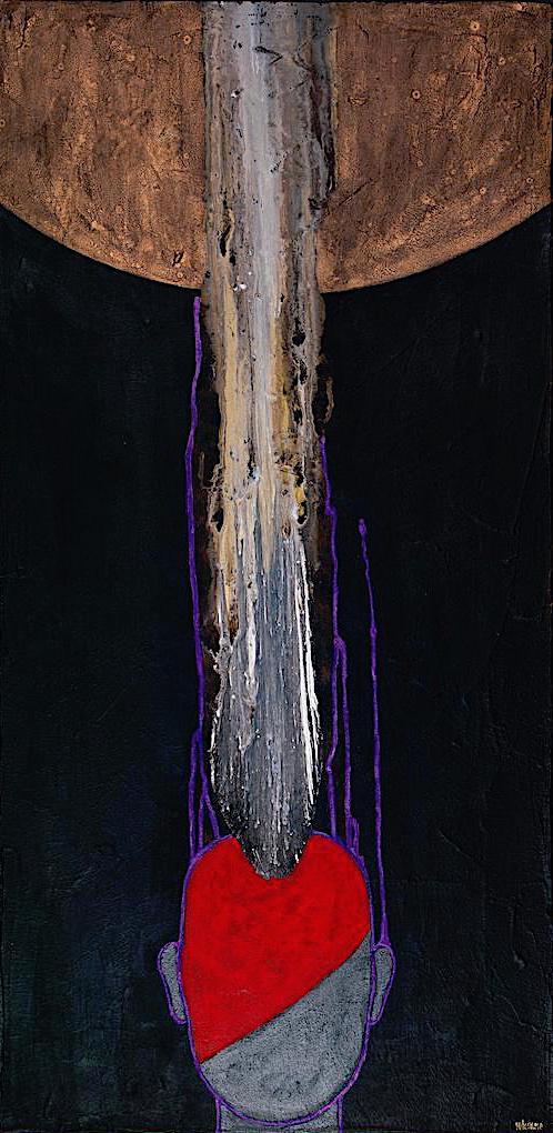 Il cuore dei santi, 2009, tecnica mista su tela, cm. 50x100x4,5