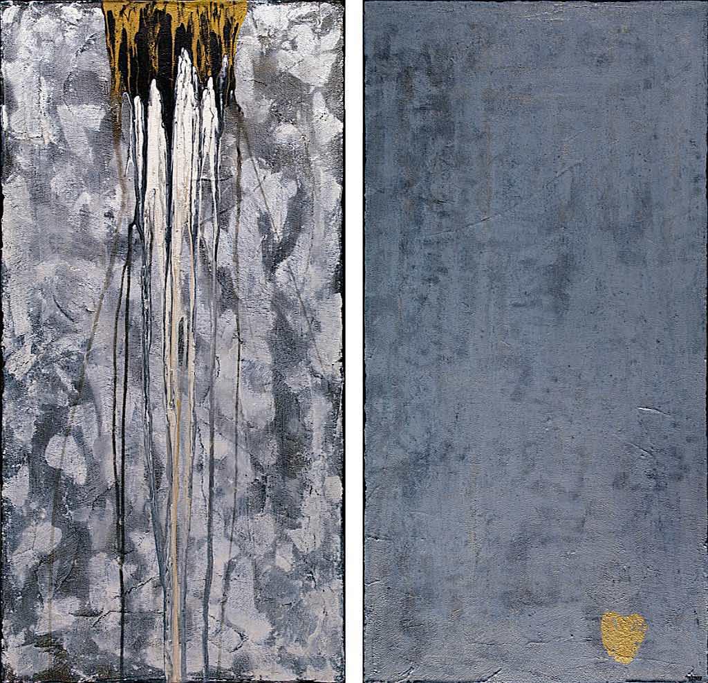 Il cuore dei santi (K), 2009, tecnica mista su tela, dittico, cm. 100x100x4,5