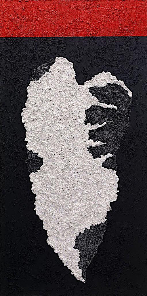 Impronte/La forma e la sua memoria (B9), 2010, tecnica mista su tela, cm. 120x60x4,5