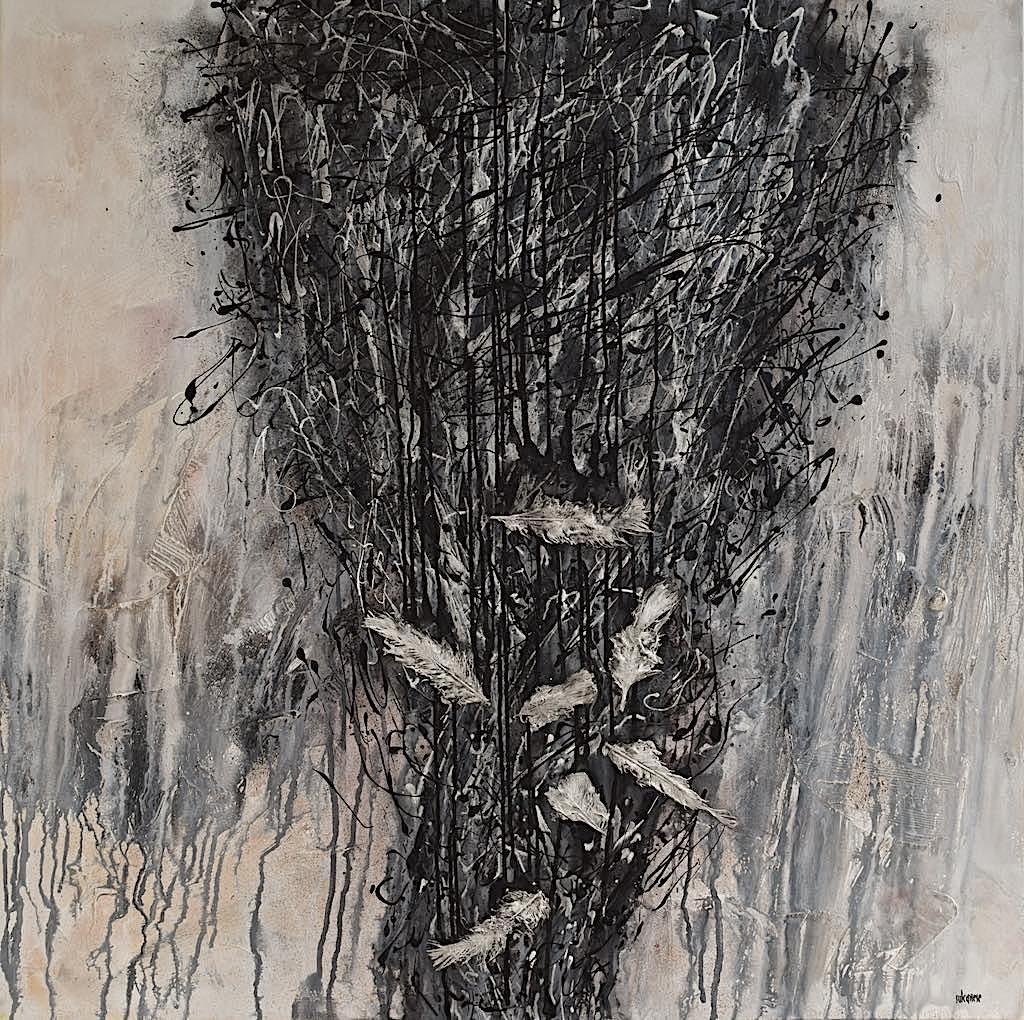 In the storm, 2015, tecnica mista su tela, sm. 100x100x4,5