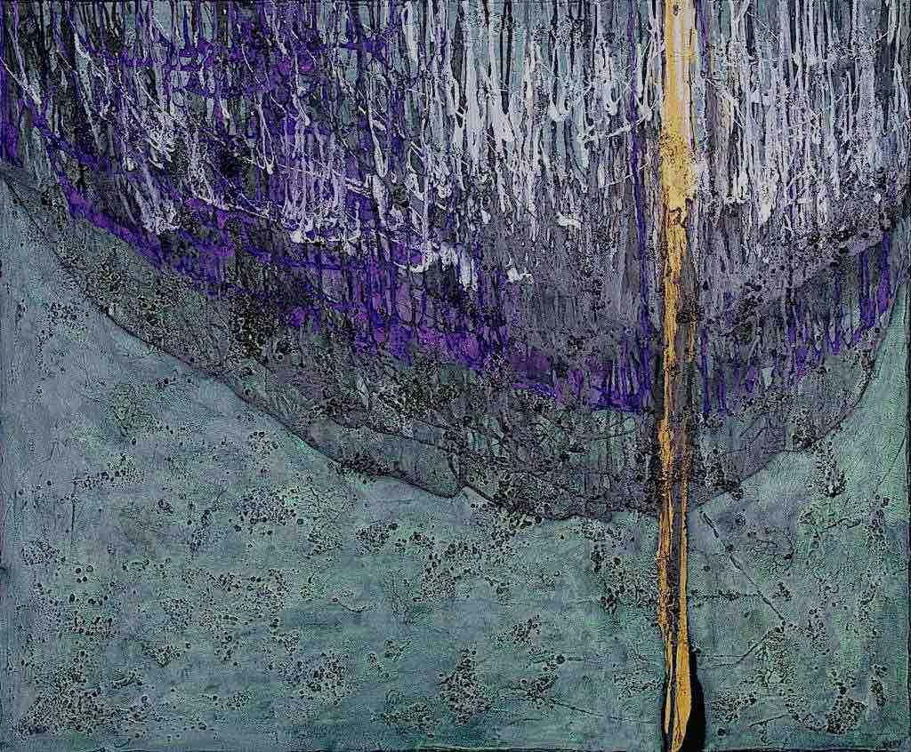Sentieri di luce (D), 2009, tecnica mista su tela, cm. 100x120x4,5