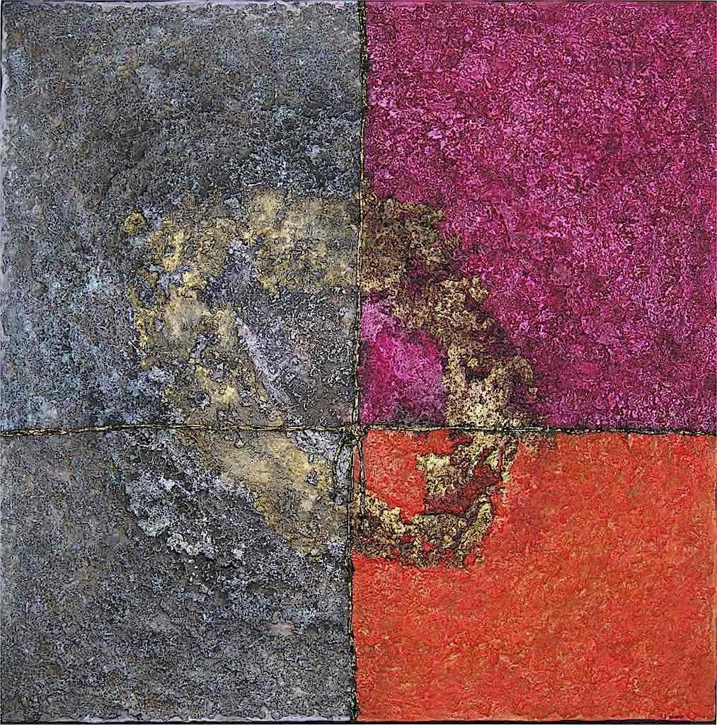 Nel segno dell'oro n. 11, 2007, tecnica mista su tela, cm. 100x100x4,5
