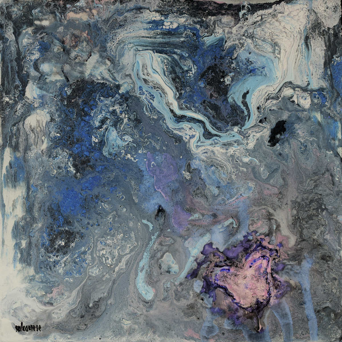 Piccole storie di farfalle (blu e dintorni/2), 2021, tecnica mista su tela, cm. 30x30x4,5